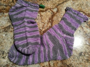 Purple socks 1 almost done