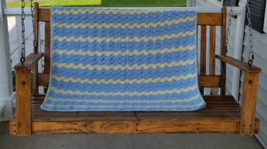 blue and yellow blanket completed 6.7.15